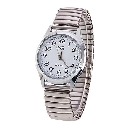 Moda Simple Relojes para Hombre Mujer - Correa de Aleación Números Arábigos Fácil de Usar Elástico Reloj de Pulsera para Mediana Edad y Ancianos, ...