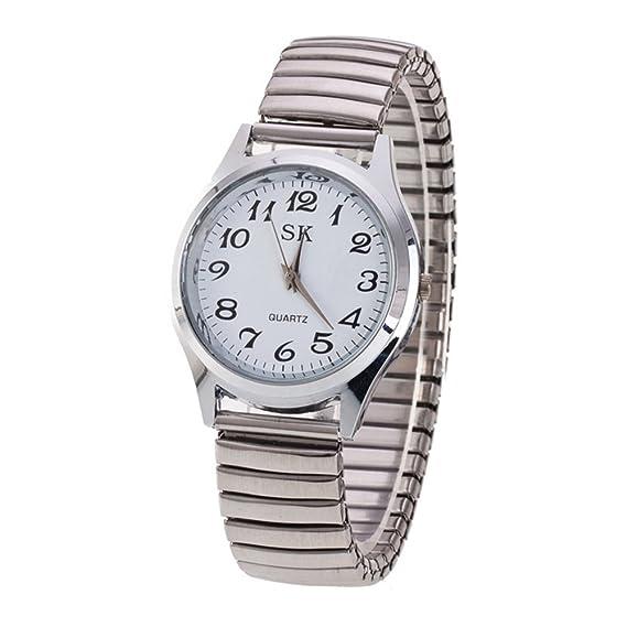 Moda Simple Relojes para Hombre Mujer - Correa de Aleación Números Arábigos  Fácil de Usar Elástico Reloj de Pulsera para Mediana Edad y Ancianos 9dbdb18e19de