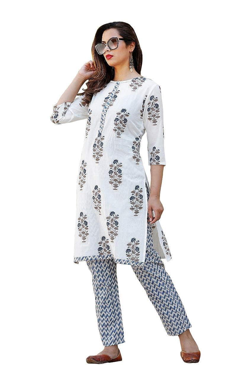 Fashion Farmers Womens Blue Cotton Kurti with Ankle Length Palazzo Pants.