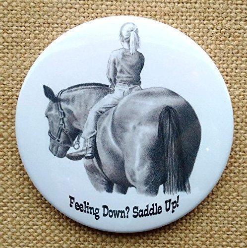 "Fridge Magnet, 3.5"", Horseback Riding, Girl on Horse, Feeling Down? Saddle Up! Pencil Art"