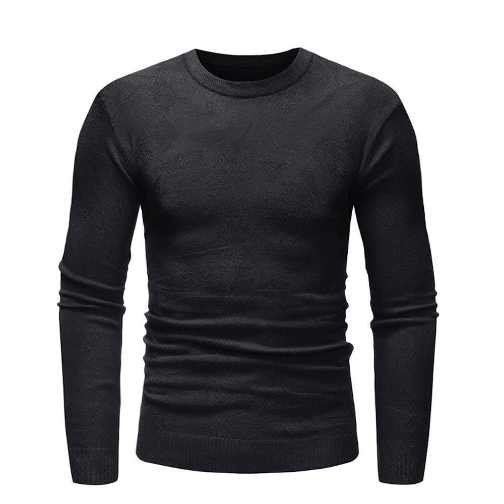 Realdo Mens Solid Long Sleeve Sweater Pullover Slim Jumper Knitwear Outwear Blouse(Large,Black)