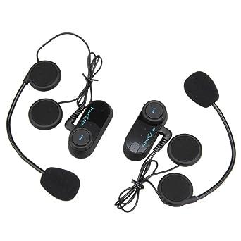Excelvan Interfono inalámbrico con Bluetooth para moto impermeable- Auriculares estéreo con micrófono y para cada