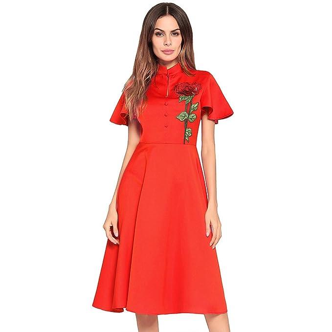 antaina Vestido de Fiesta de Cuello Plisado Bordado de Rosas Rojas Vestido de Mujer Plisada
