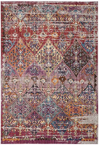 Cheap Safavieh Bristol Collection BTL352R Rose and Multicolored Vintage Distressed Bohemian Area Rug (6′ x 9′)