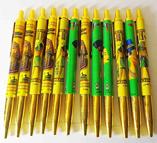 12 Pcs Egyptian Ball Pen Pharaoh Pharaohs Tutankhamun Nefertiti Egypt 230 -