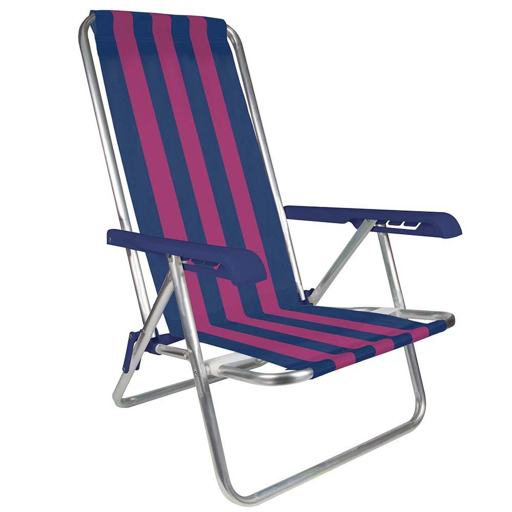 MOR 4-Position Aluminum Beach Chair - (Pack of 1) - (Blue & Pink Stripe)