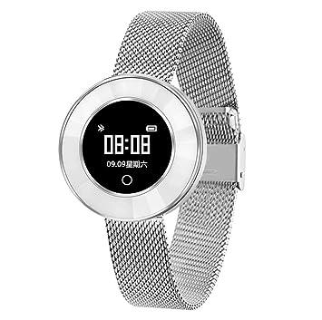 Love Life Reloj Inteligente De Las Mujeres, Seguimiento De La Actividad De Fitness Móvil para El Ritmo Cardíaco/Tensiómetro/Podómetro,Silver: Amazon.es: ...