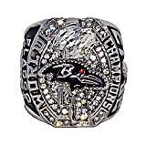 BALTIMORE RAVENS (Joe Flacco) 2012 SUPER BOWL WORLD CHAMPIONS (Play Like a Raven) Super Bowl XLVII MVP Rare & Collectible High-Quality Replica NFL Football Champ Ring with Cherrywood Display Box