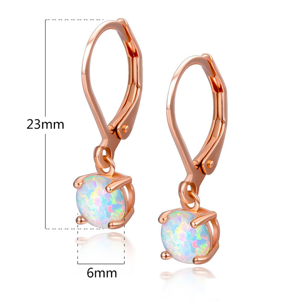 Hello Spring 18K White Gold Plated Dangle Opal Earrings for Women Girls