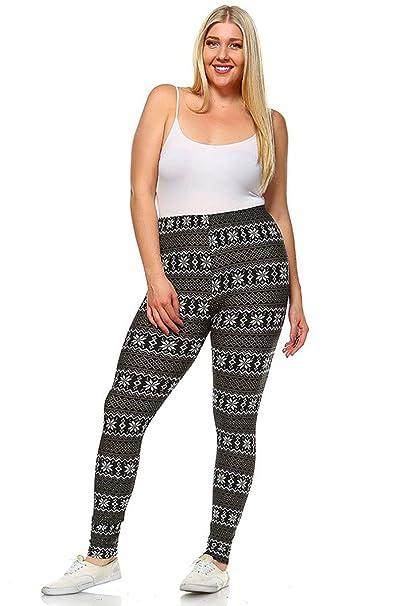 b968a85f2de25d Amazon.com: Fourever Funky Plus Size Soft Winter Seasonal High Waist  Stretch Full Leggings Bottoms (Black, One Size): Clothing