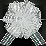 FQTANJU Pull Bow, Large, Organza, 6 Inches, White, 5pcs