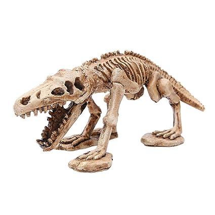 Amakunft Decoración de Acuario, pecera Decorativa de Resina de Dinosaurio Esqueleto para casa de Reptiles