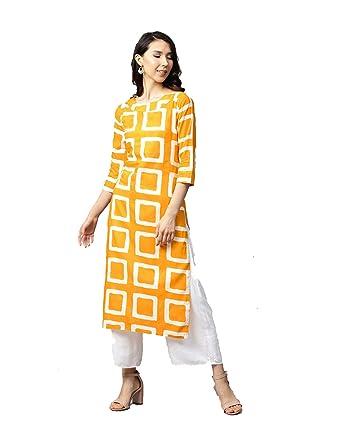 f8b7e6d1a9c Dream Angel Fashion Women Mustard Yellow   White Round Neck Printed  Straight Kurta (Small-