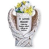 Collections Etc Angel Wings Memorial Vase Garden Décor Yard Stake - Sentimental Planter Decoration, Beige