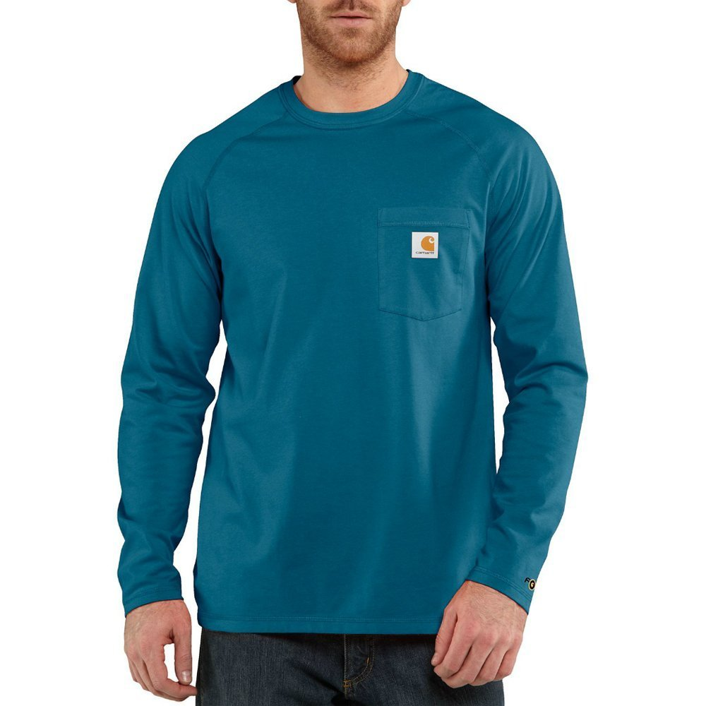 Carhartt Men's Force Cotton Delmont Long Sleeve T Shirt, Bay Harbor, X-Large