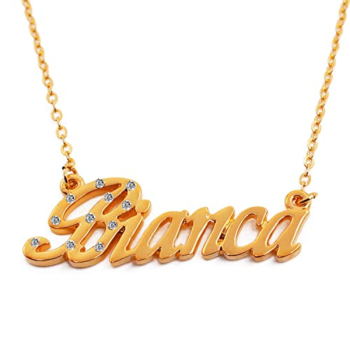 d7ae99b485e04 Zacria Name Necklace Bianca 18K Gold Plated