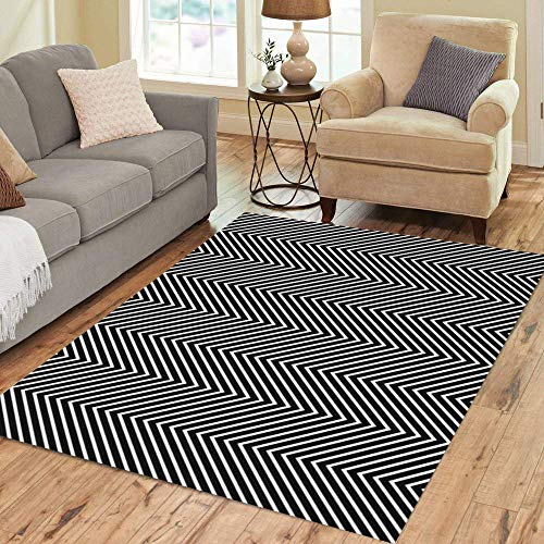 Pinbeam Area Rug Zigzag Lines Jagged Stripes Pattern Wavy Linear Chevrons Home Decor Floor Rug 2' x 3' Carpet