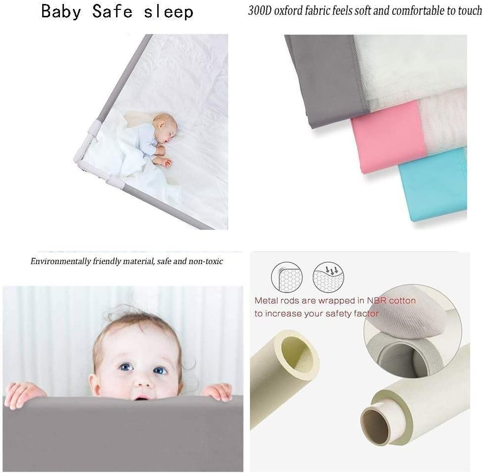 Color : A, Size : 1.2x1.5x1.5M 3 Colors YouYou-YC 3-sided Bed Rails For Toddlers Bedside Guardrail With Washable Cover Safety Protective Vertical Lifting Bed Barrier 6 Sizes