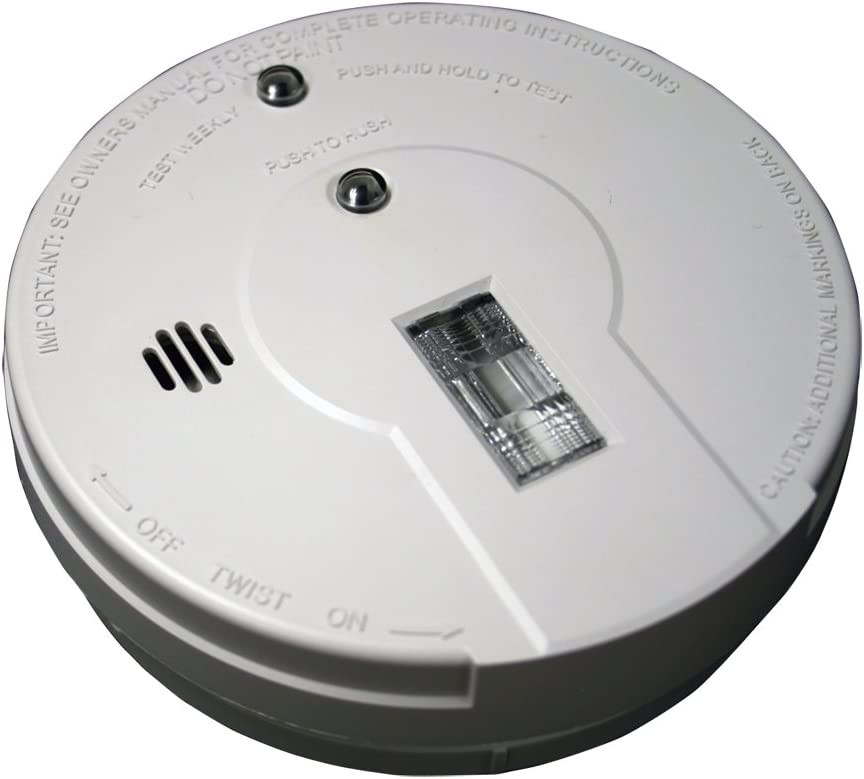 Kidde - 21026052 Battery Operated Smoke Detector Alarm with Safety Light | Model i9080, White - -