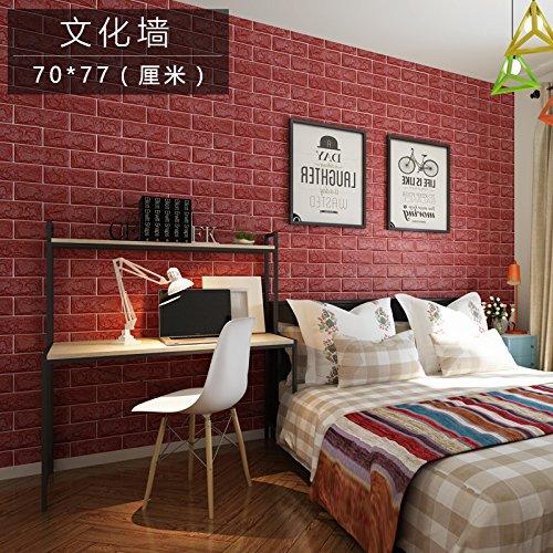 European 3D Wall Stickers Wall Brick Pattern Self-Adhesive Wallpaper Bedroom Living Room Decorative Waterproof Sticker,red,70CMX77CM