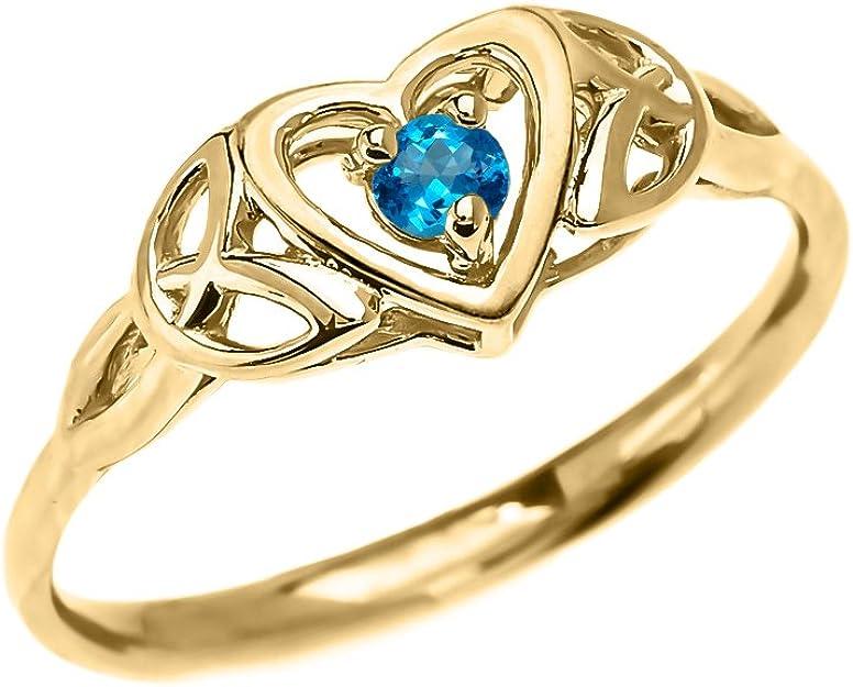 0.06 Ct Redondo Diamante Corazón Anillo 10K Oro Amarillo
