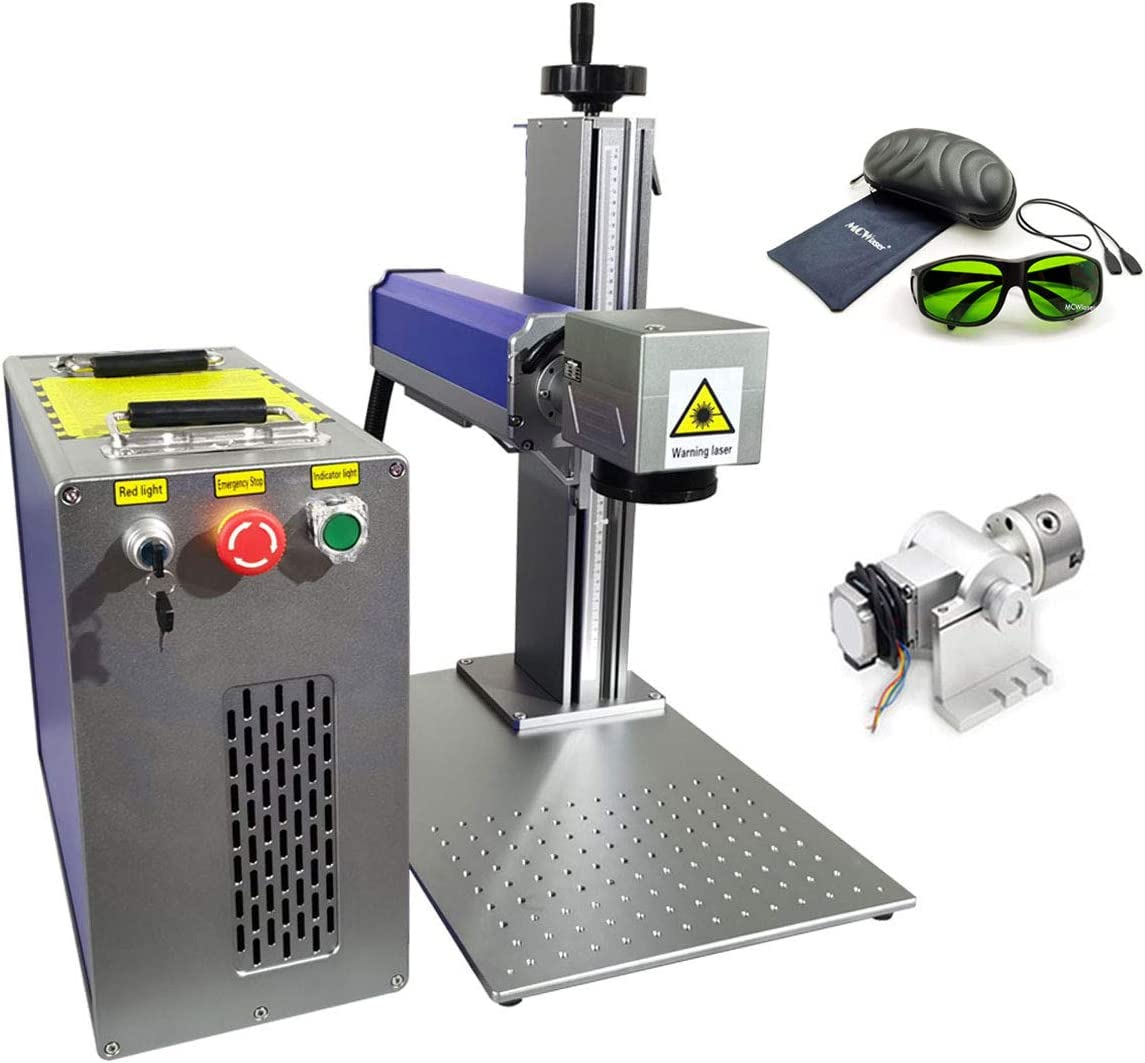 MCWlaser 20W Fiber Laser Engraver,Max Raycus Fiber Marking Machine for Metal, Jewerly, Steel Etching,Rotary included
