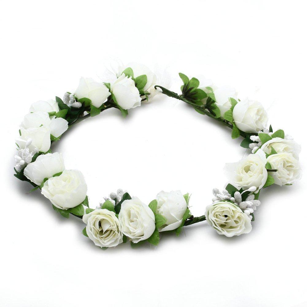 Amazon white rose flower girl bridal headpiece floral halo head amazon white rose flower girl bridal headpiece floral halo head wreath wedding beauty izmirmasajfo