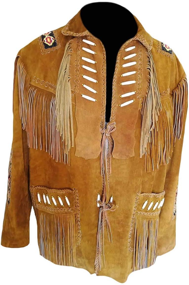 Beads /& Fringes SleekHides Mens Western Suede Leather Jacket with Bones