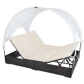 Gartenliege 2 personen dach  Amazon.de: TecTake Sonnenliege Poly Rattan Gartenliege Loungeliege ...