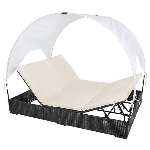 Gartenlounge rattan mit dach  Amazon.de: TecTake® Sonnenliege Poly Rattan Gartenliege ...