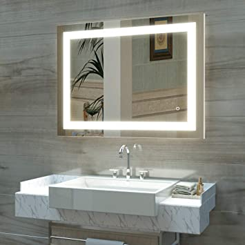 Amazon Com Hauschen 32 X 40 Inch Led Lighted Bathroom Wall Mounted Mirror With 3000k High Lumen Cri 90 Warm White Lights And Anti Fog And Dimmable Memory Touch Button Ip44 Waterproof