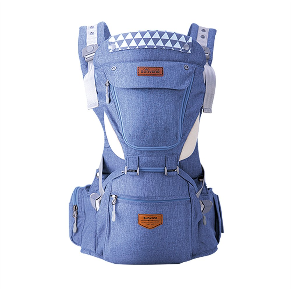 SUNVENO Baby Hipseat Carrier Large Baby Carrier 3in1 Ergonomic Baby Hip seat for Outdoor Travel (Blue) HC22094-HS
