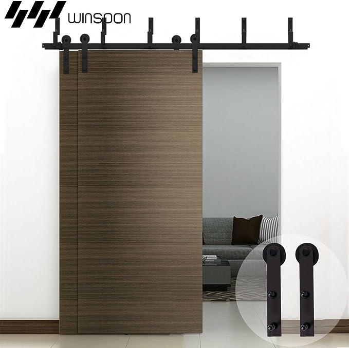 winsoon Bypass moderno puerta corrediza de granero madera Hardware armario rodillo resistente de acero vía recta rodillo Kit Negro: Amazon.es: Bricolaje y herramientas