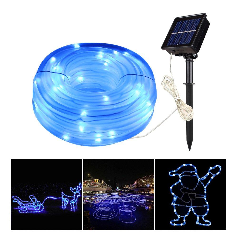 MEIKEE 8 Modi Solar Lichterschlauch 100 LEDs mit Speicherfunktion IP55 Lichterkette mit Sonnenkollektoren für Innen & Außen zum Schmücken von Weihnachten, Party Blau [Energieklasse A+]