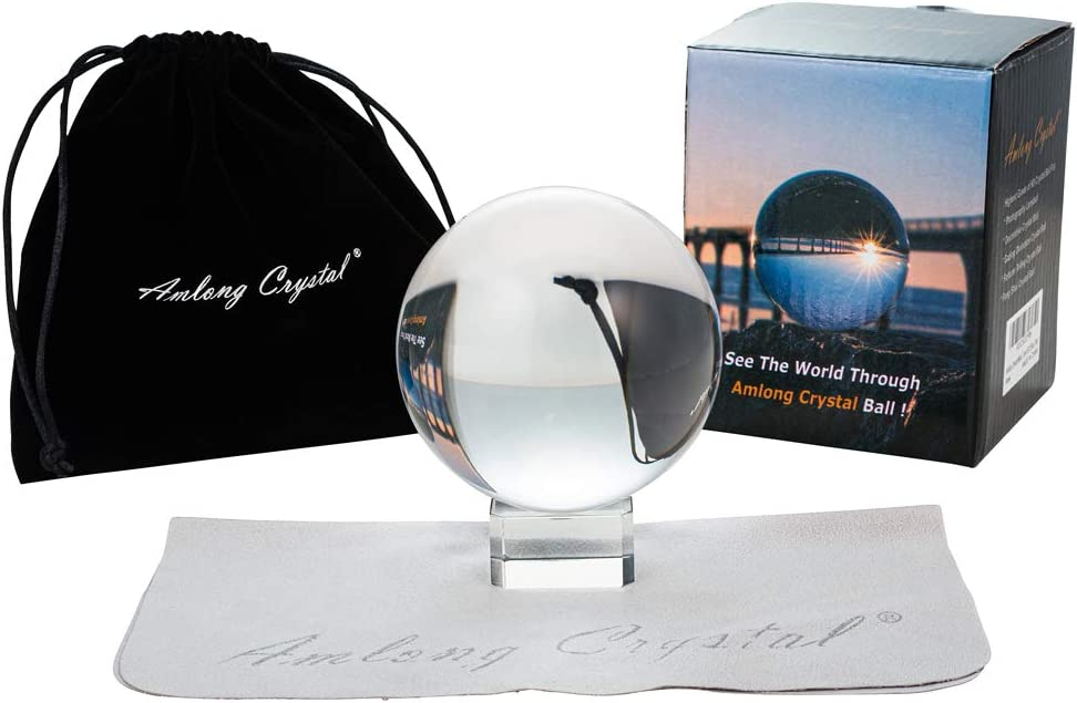 Amlong Crystal Meditation K9 Clear Crystal Ball 3.25 inch (80mm) Diameter for Photography, Lensball, Decorative Ball with Free Crystal Stand and ECO Box, Including Microfiber Pouch, Wiping Cloth
