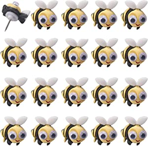 FoyaHome 20 Pcs Cute Creative Shape Push Pins Decorative Thumb Tacks Drawing Pins for Feature Wall Whiteboard Cork Board Photo Wall Paper Memo Nail Office Accessories (Bee)