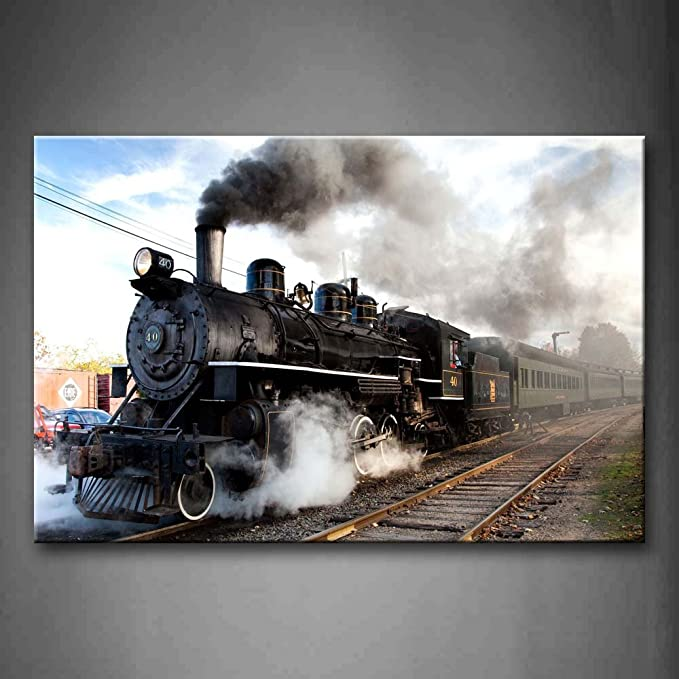 First Wall Art - A Car And Train With Gray Smoke Steam Trains In Progress Wall Art Painting The Picture Print On Canvas Car Pictures For Home Decor Decoration Gift