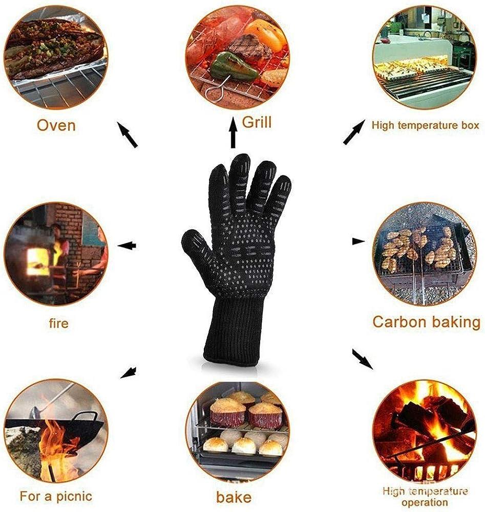 1PC Gant De Cuisine BBQ Extreme Heat Gants R/ésistants Isol/és Durables Haut De Gamme Anti-Feu De Cuisine Con/çu Pour Mitts Grillade Friture Cuisson