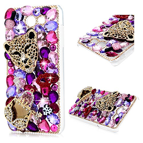 Galaxy J7 V J7V Case 2017, Crystal Clear PC Shell Luxury 3D Handmade Bling Shiny Glitter Sparkle Diamonds Rhinestones Gems Ultral Slim Bumper Colorful Jewelry Cover for Samsung Galaxy J7 Gold Leopard ()