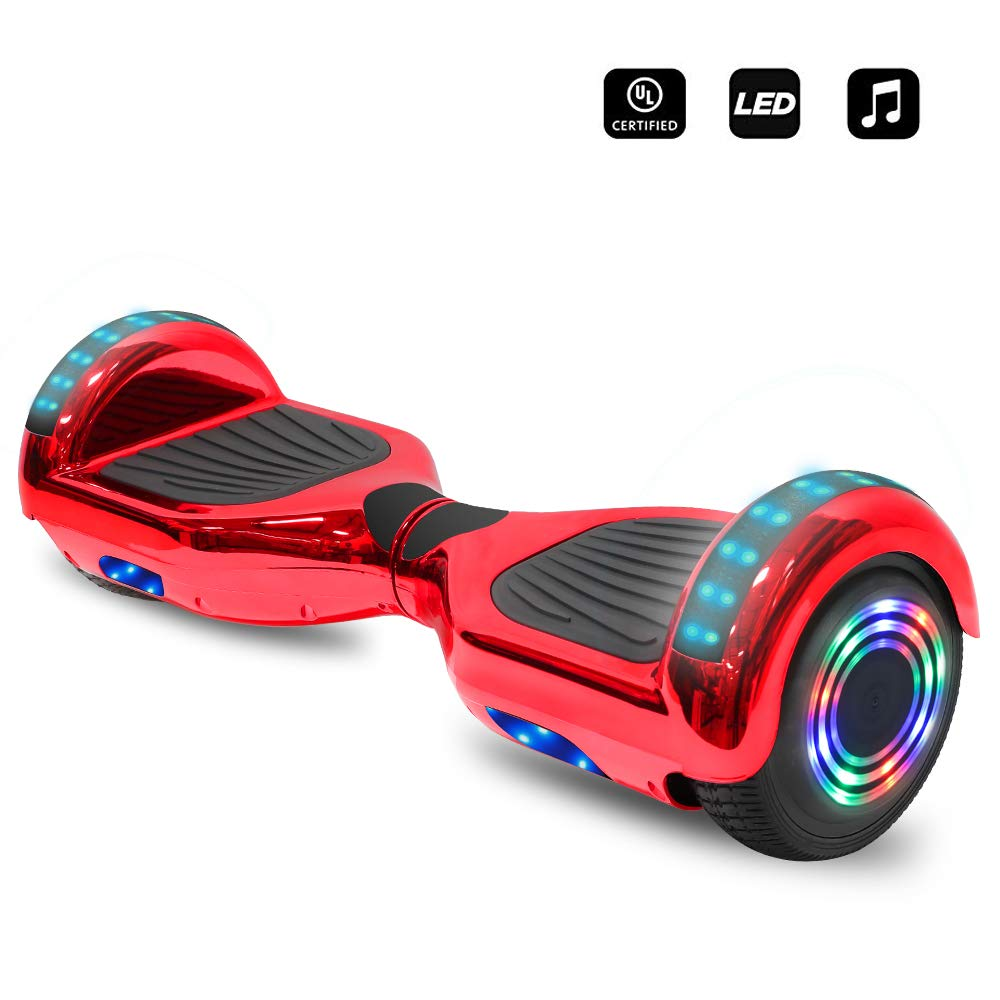6.5'' inch Wheels Electric Smart Self Balancing Scooter Hoverboard with Speaker LED Light - UL2272 Certified (-Carbon Fiber Design Red)