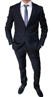 b7f7c25fb7cd Elegante Abito da Uomo Blu Scuro Sartoriale Blu Completo Vestito Casual Slim  Fit Aderente
