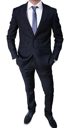 567b0b432fc88 Elegante abito da uomo blu scuro sartoriale blu completo vestito casual  slim fit aderente (44