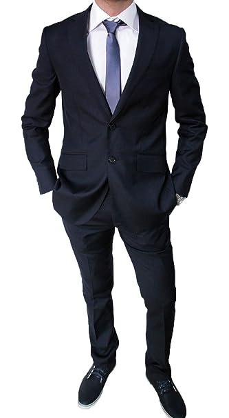 Elegante abito da uomo blu scuro sartoriale blu completo vestito casual  slim fit aderente (44