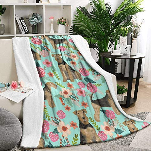 Airedale Terrier Cute Dogs With Florals Summer Thick Reversible Blanket Cozy Bed Warm Throw Blanket Flannel Fleece Blanket、59 X 79 Inch 150X200