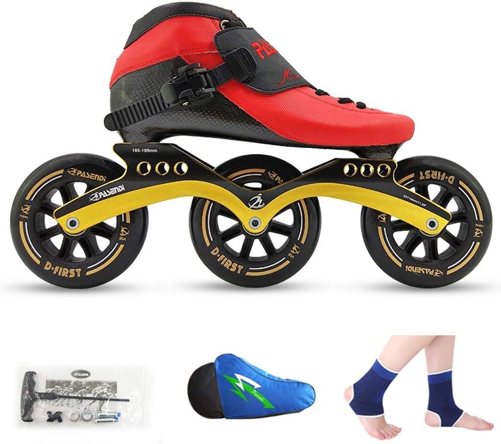 LIUXUEPING ローラースケート、 スピードスケート靴、 レーシングシューズ、 子供の大人のプロスケート、 男性と女性のインラインスケート (色 : 赤 shoes+黒 wheels, サイズ さいず : 39)