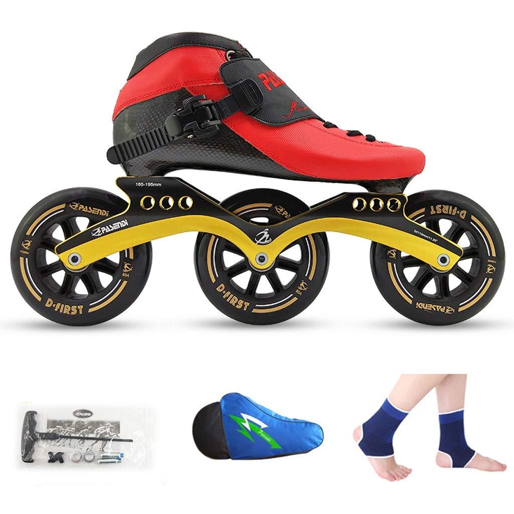 LIUXUEPING ローラースケート、 スピードスケート靴、 レーシングシューズ、 子供の大人のプロスケート、 男性と女性のインラインスケート (色 : 赤 shoes+黒 wheels, サイズ さいず : 42)