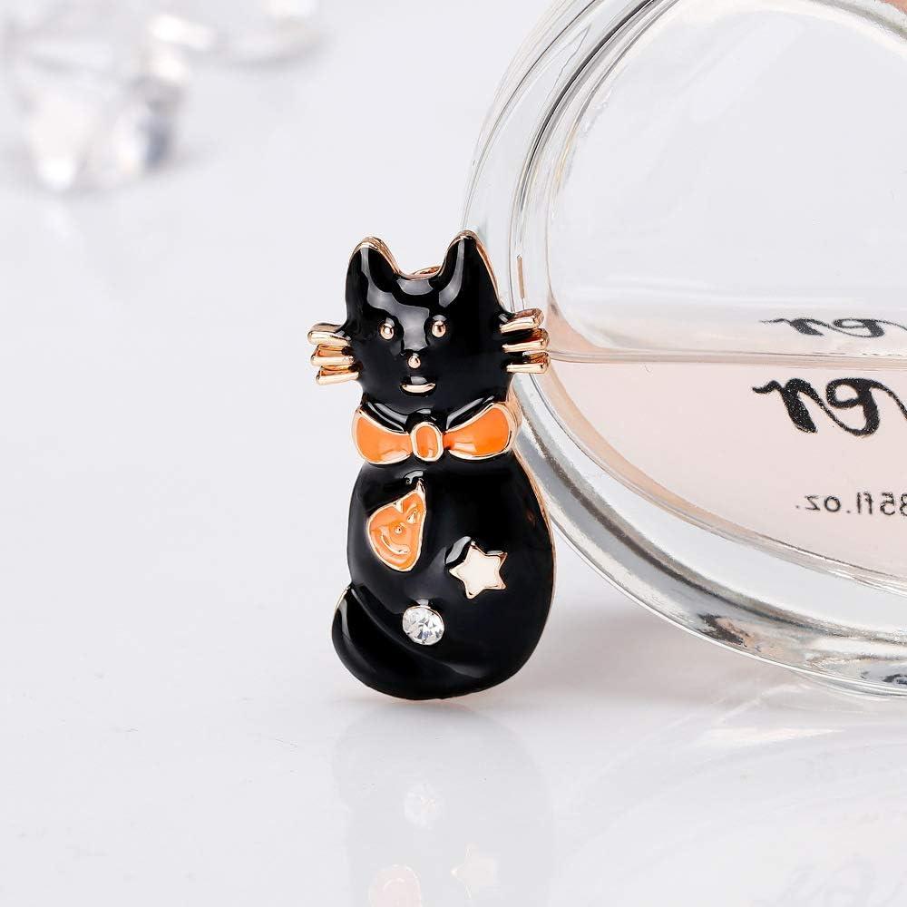 SUKOKOLA Halloween Party Event Black Cat Brooch Pin Costume Enamel Collar Clothing Accessories