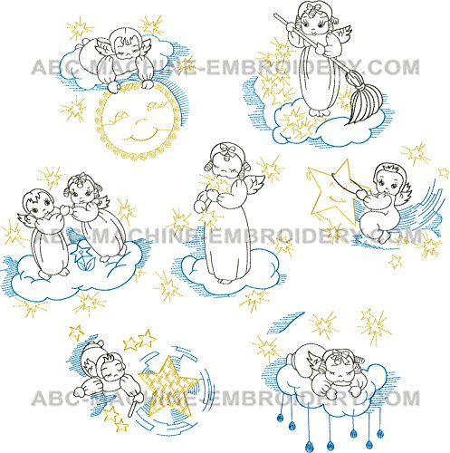 Angel Embroidery Designs - ThreaDelight ABC Machine Embroidery Designs Set - Little Angels Embroidery Designs 5x7 Hoop - CD