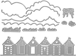 Metal A Row of Houses Village Cutting Dies, The Ground Grass Die Cuts Embossing Stencils Template Mould for Card Scrapbooking and DIY Craft