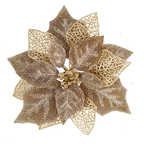 Louiesya (Pack of 12 Glitter Poinsettia Christmas Tree Ornaments,Christmas Decorations Flower (Brown Gold) (Christmas Bronze Decorations Red And)